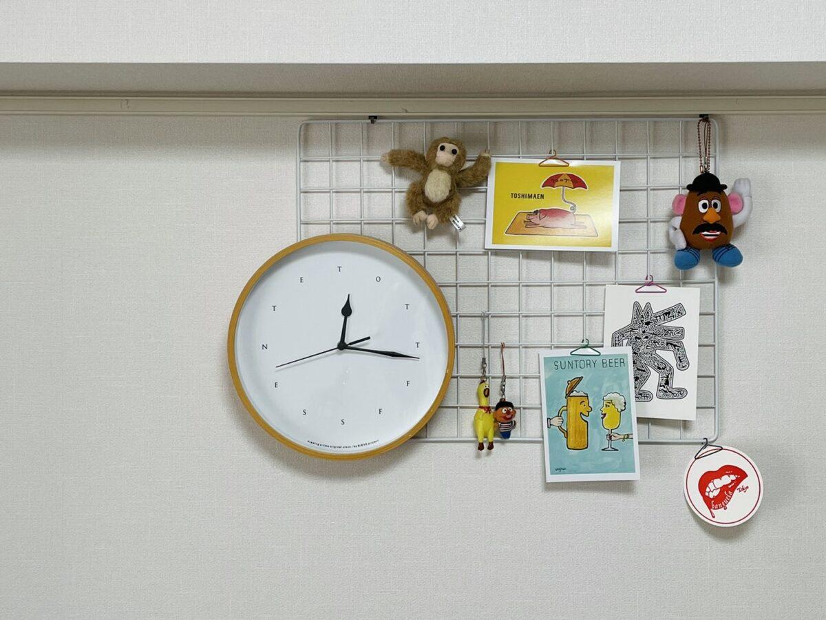 壁に時計をかける方法(ワイヤーネット利用)